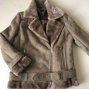 Oversized faux shearling biker jacket